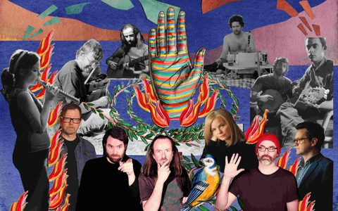 Abstract picture collage of musicians over a blue backround surrounding a blue green and red striped hand