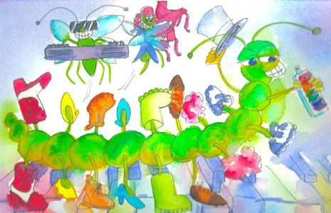 Green caterpillar with boots on plauing keyboards and piano